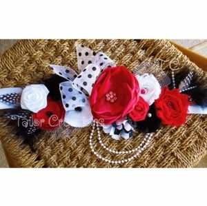 Red, Black and White Floral wedding matermity sash